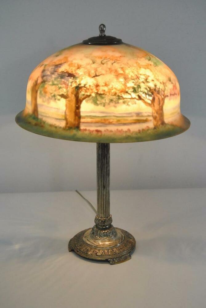 SIGNED ANTIQUE PAIRPOINT REVERSE PAINTED LAMP WITH CHERRY