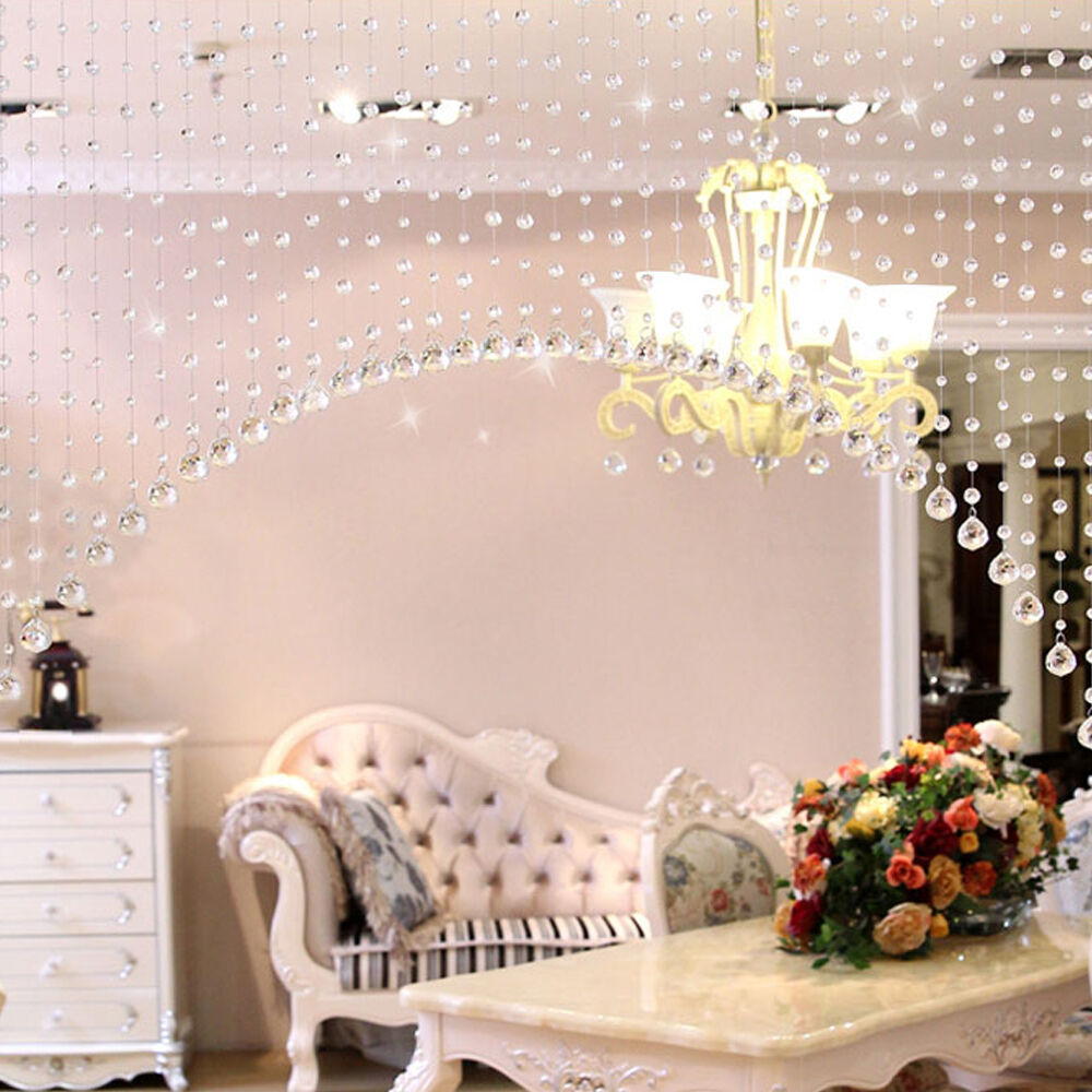 1m glass crystal clear beaded hanging curtain string window door kitchen decor ebay - Glass beaded door curtains ...
