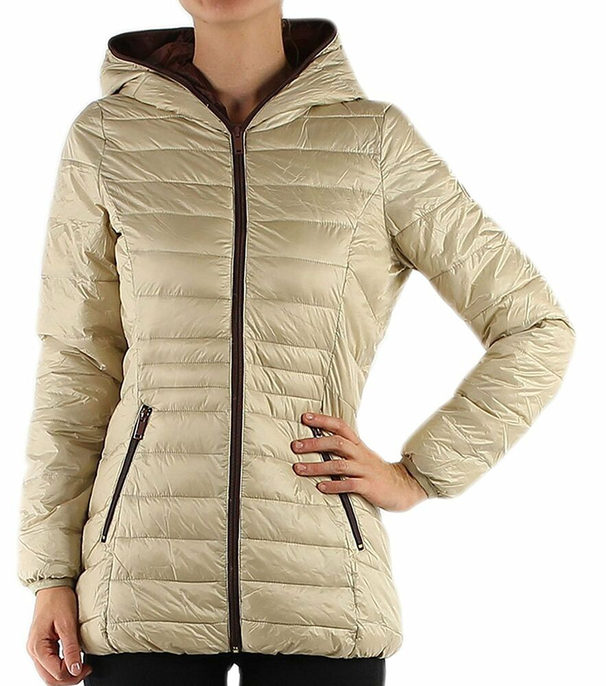 Womens Quilted Padded Puffer Bubble Down Feel Light Weight