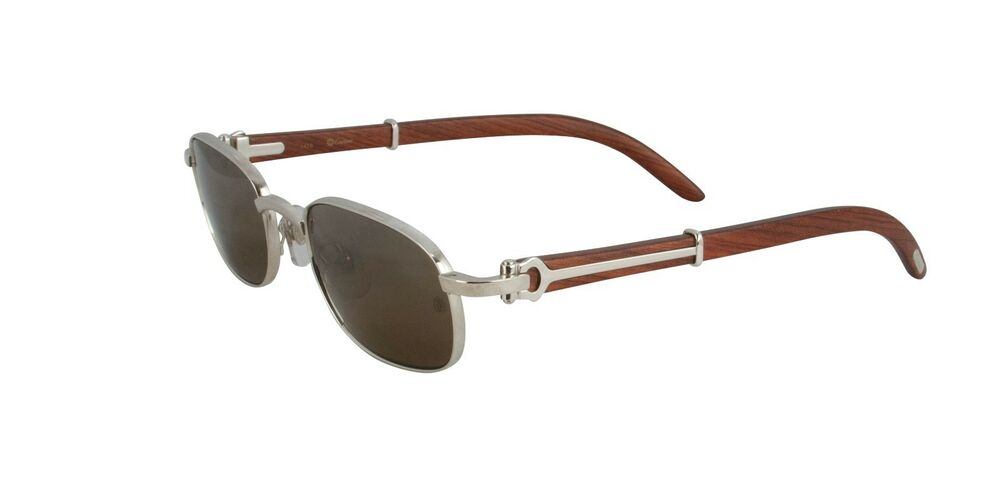 new cartier wood sunglasses t8200431 platinum frame brown lens france 53mm