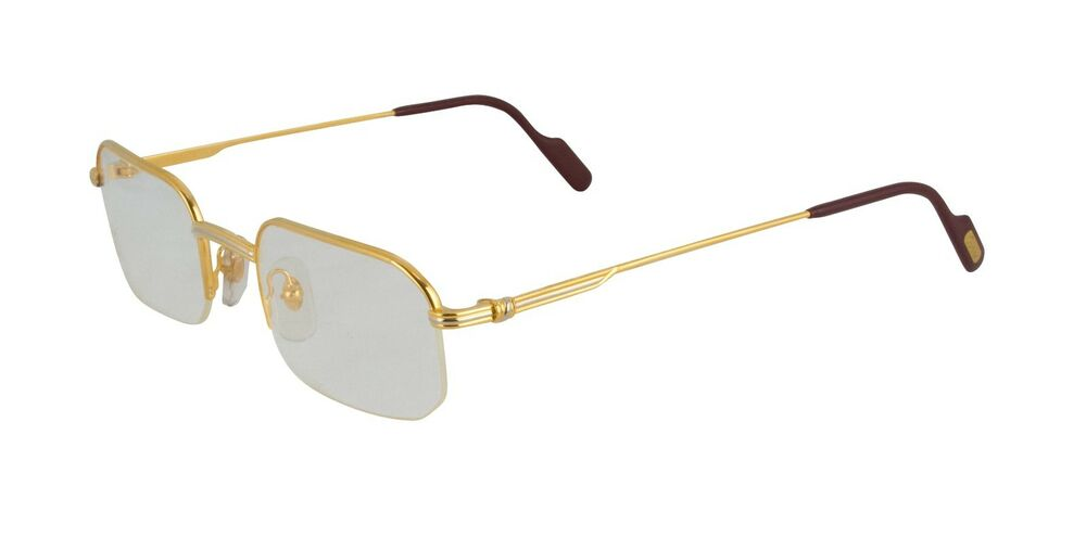 NEW CARTIER SEMI RIMLESS EYEGLASSES T8100356 GOLD PLATINUM ...