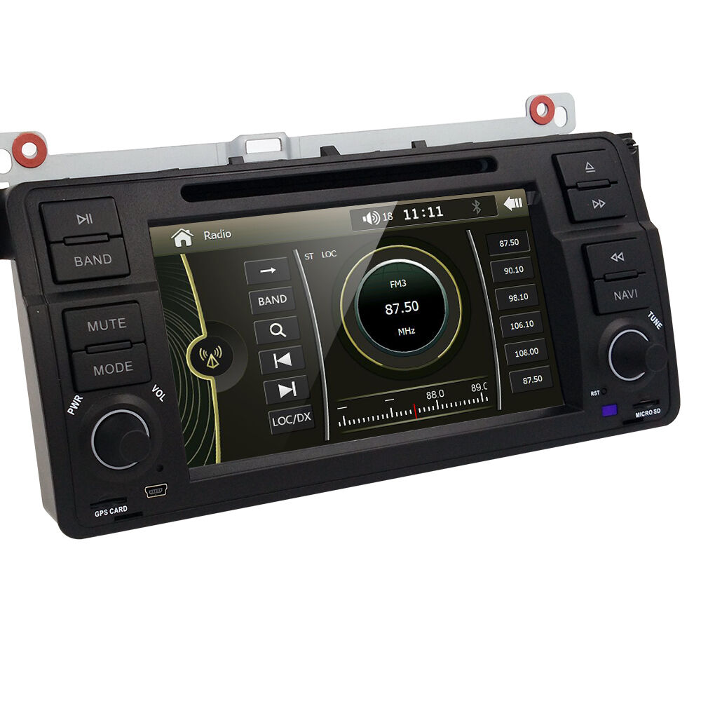 7 car stereo dvd gps navigation head unit for bmw e46 3. Black Bedroom Furniture Sets. Home Design Ideas