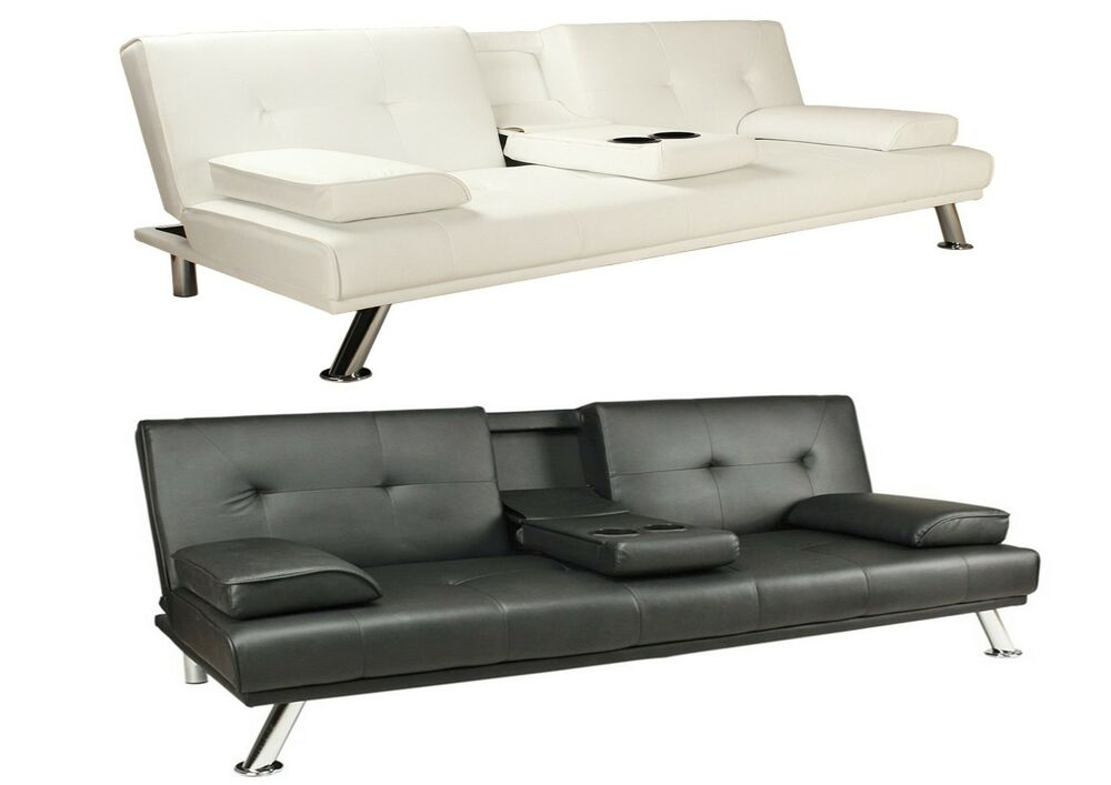 Faux Leather Sofa Bed Double Clack Settee 2 3