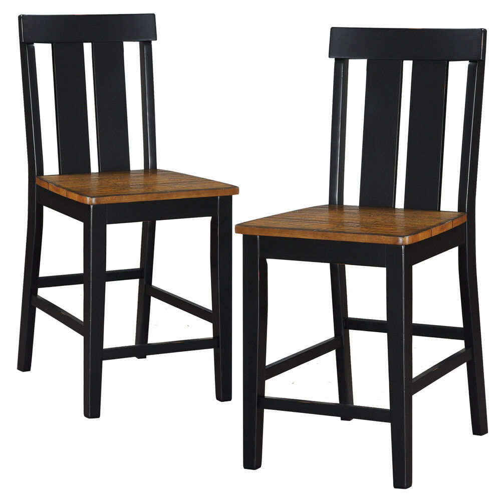 Set Of 2 Dining Counter Height High Chairs Wooden Seat