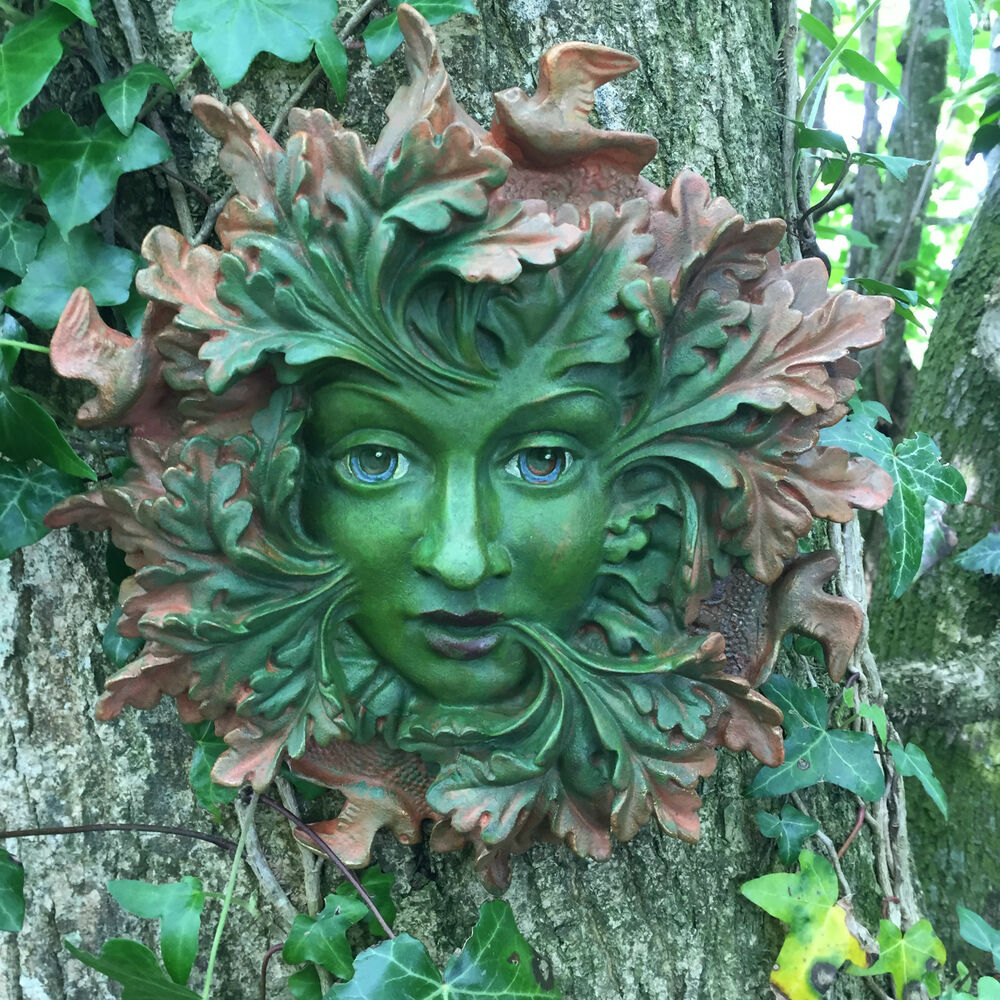 Celtic Greenman Armband: LARGE Green Spirit Greenman Garden Wall Plaque Outdoor