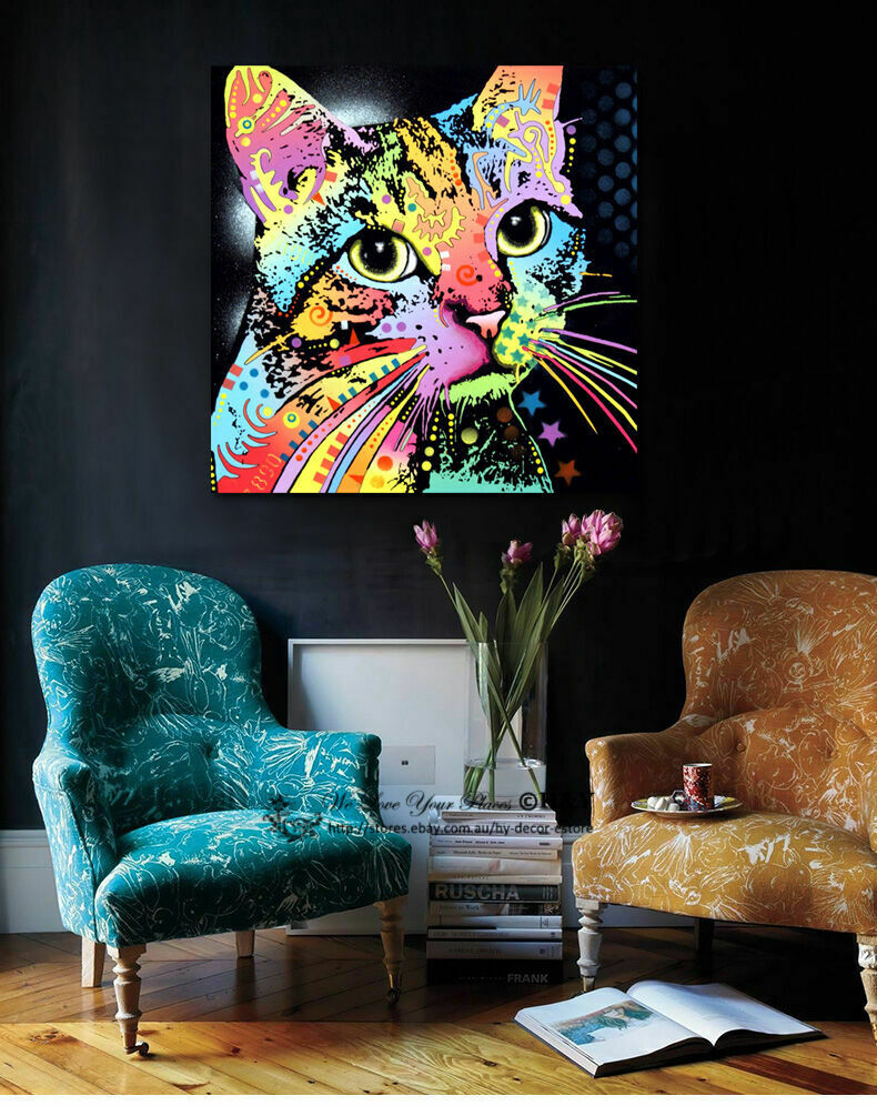 Colour Cat Animals Stretched Canvas Print Framed Wall Art