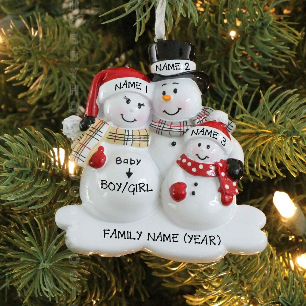 We're EXPECTING BABY Family of 3 Personalized Christmas ...