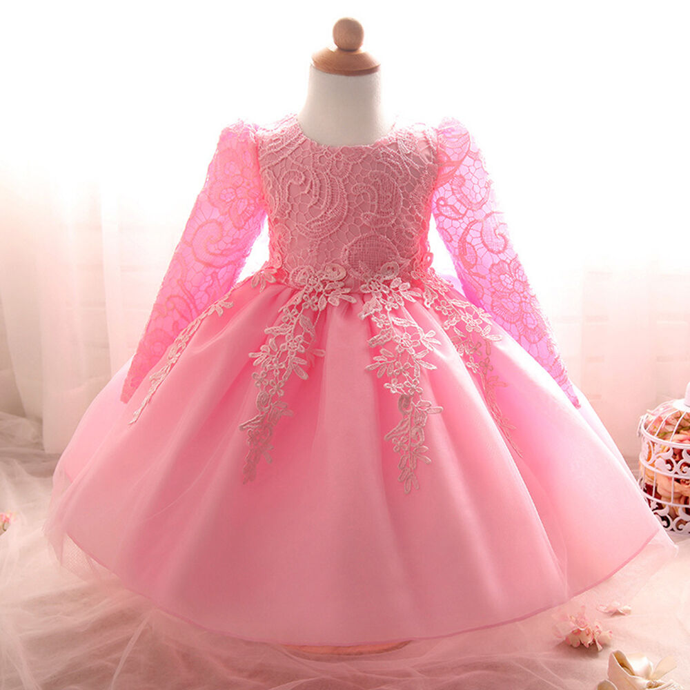12ac15340 Lace Long Sleeve Christening Baptism Gown Toddler Baby Girl Flower ...