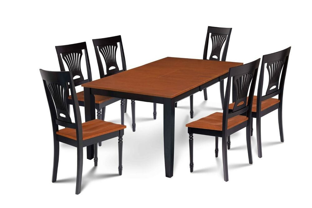 Sunderland dining room table set with wood seat chairs in for Cherry wood dining room set