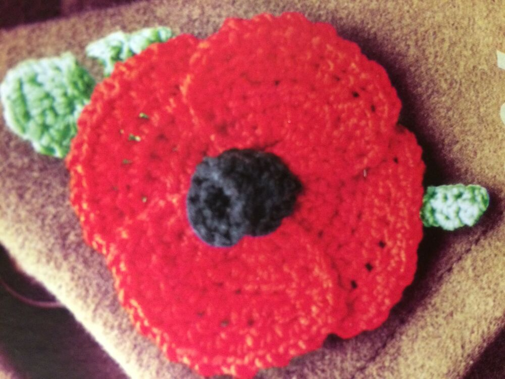 Knitting Pattern For Poppy Brooch : Knitted Poppy Knitting Pattern eBay