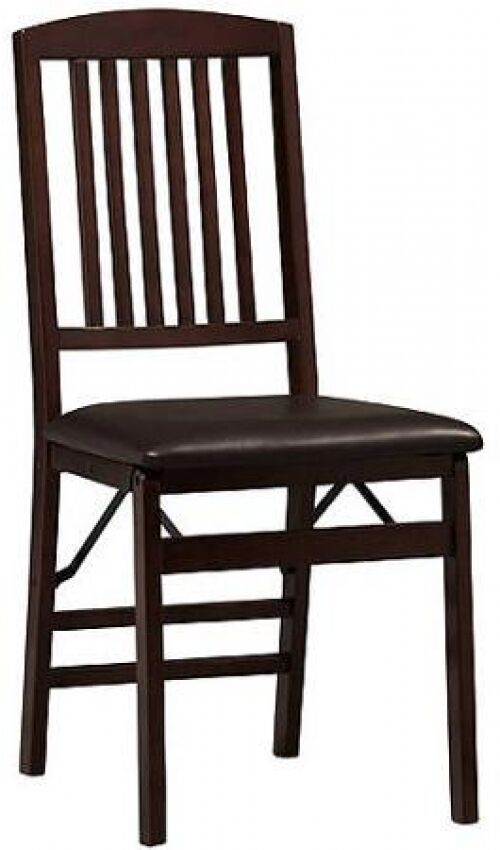 Kitchen Dining Folding Chairs Wood Padded Seats Set Of 2 Espresso EBay