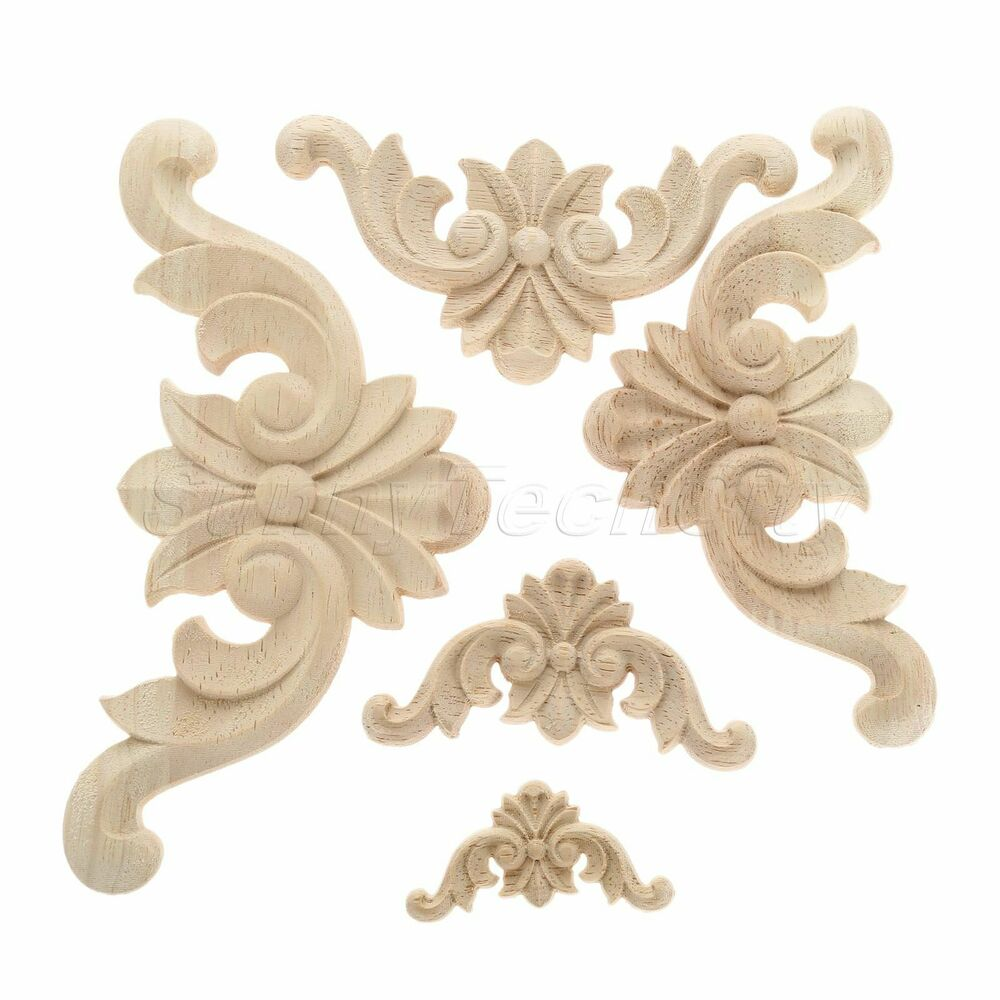 Woodcarving Corner Decal Unpainted Wooden Carved Furniture