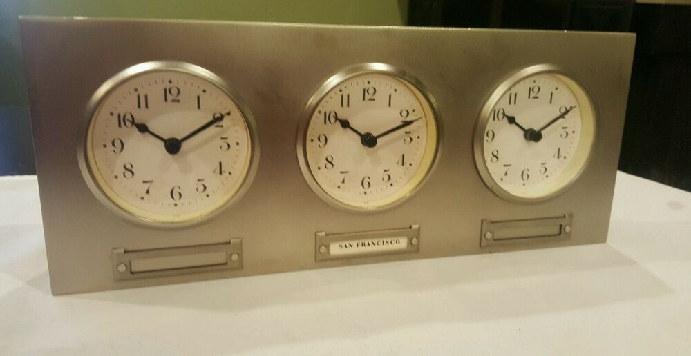 Pottery Barn 3 Time Zone World Triple Clock In Brushed