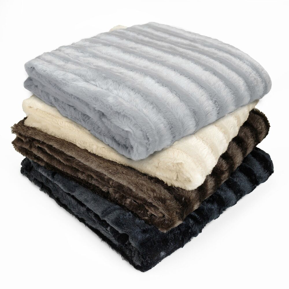 Soft black grey brown ivory mink faux fur warm plush throw for Soft blankets and throws