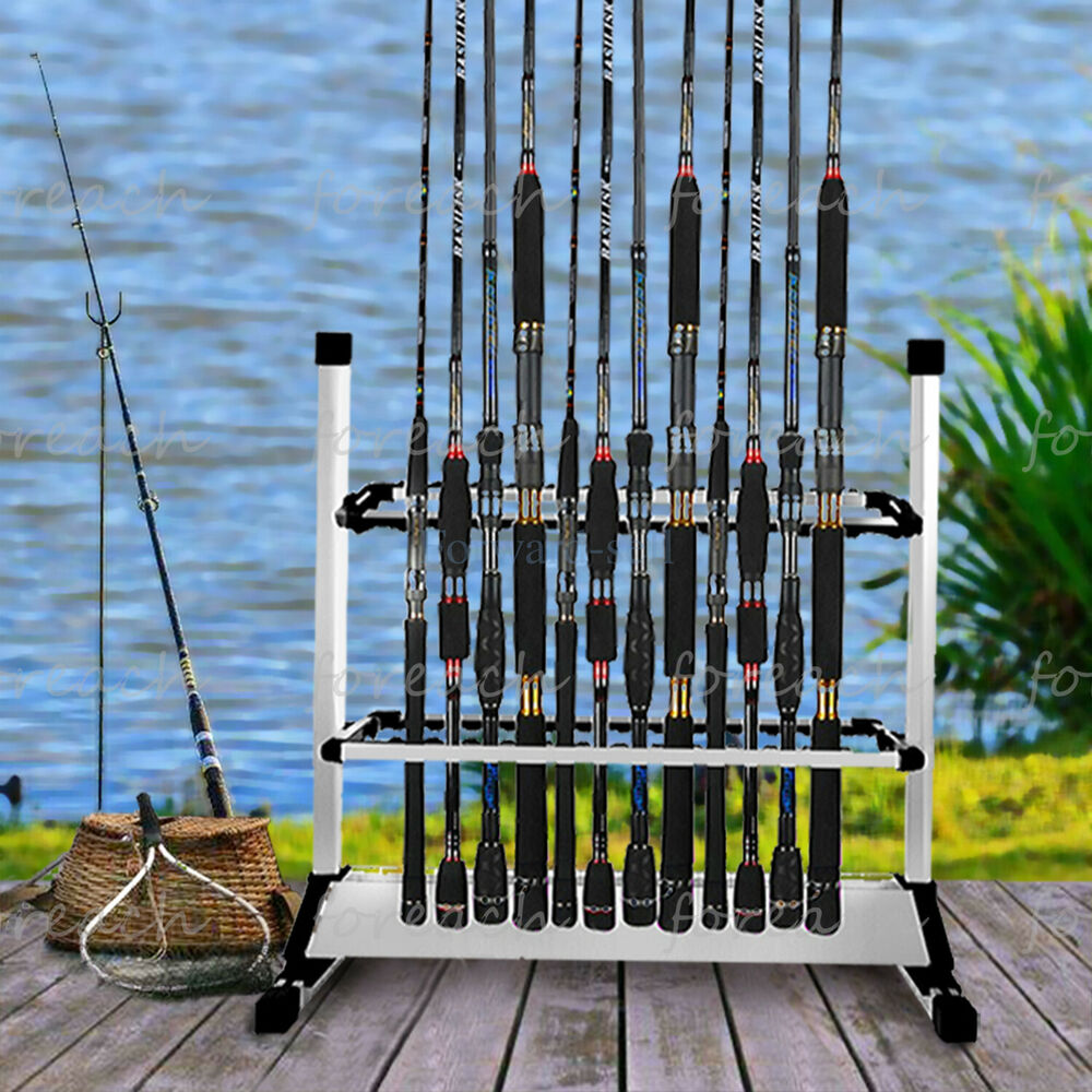 Portable 24 rods portable fishing rod rack aluminum for Fishing rod stand