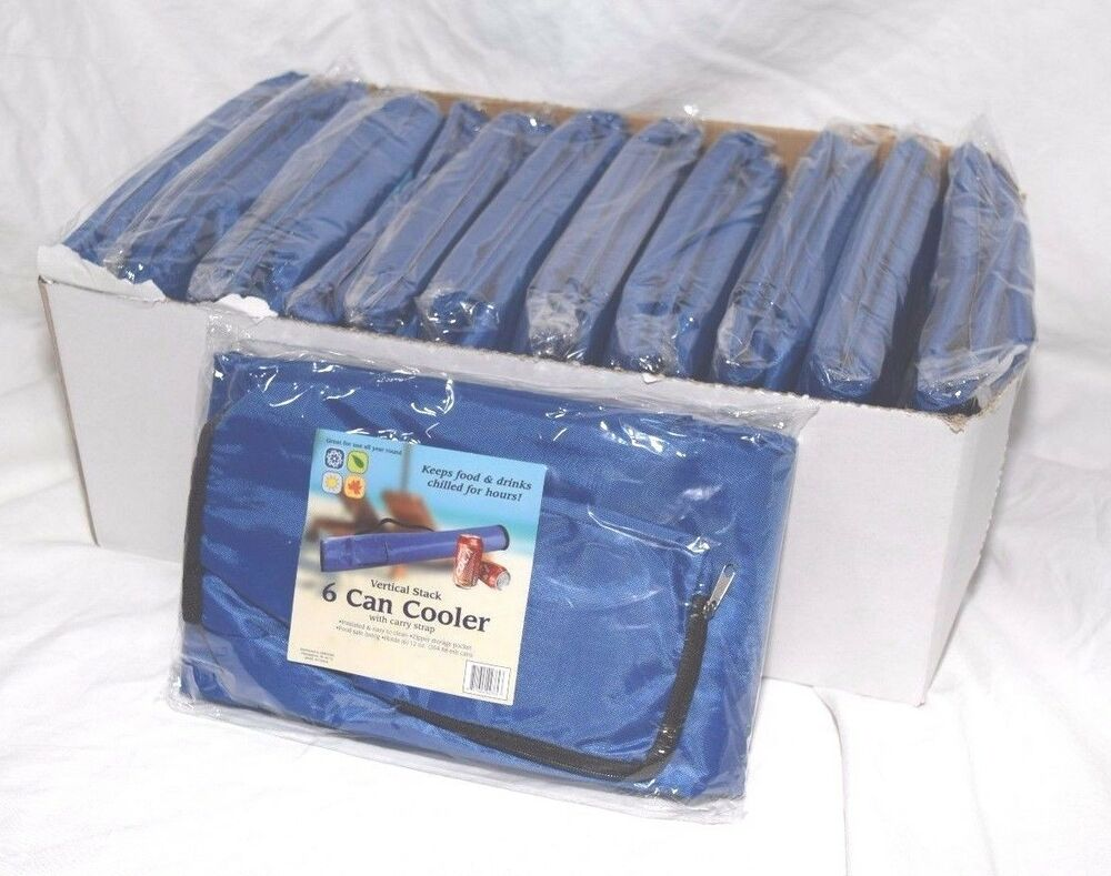 6 Can Cooler ~ Blue can tube cooler soft sleeve carriers insulated