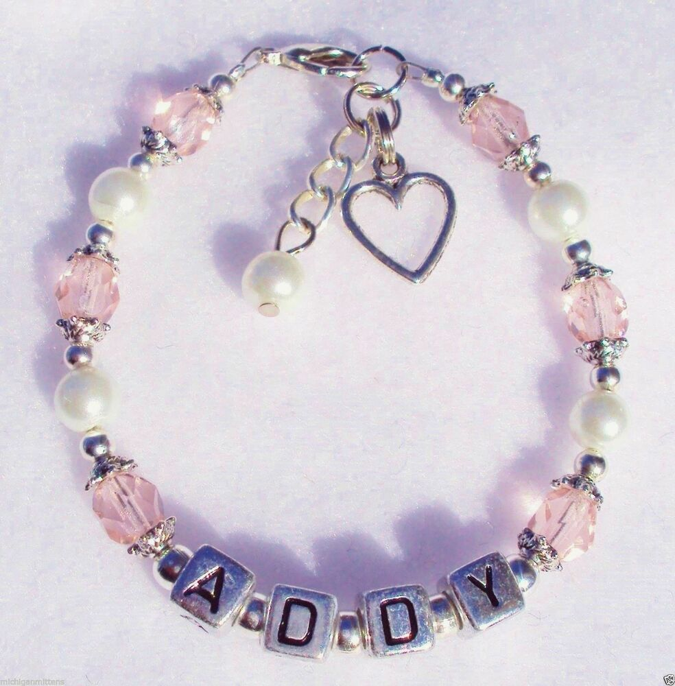 Personalized Charm Bracelet: Girls-Baby-Child-Name-Personalized-Birthstone-Heart-Charm