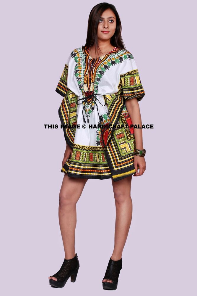 e5825f6d4ec Women African Tradition Dashiki Print Sun Dress Kaftan Maxi Plus size White  4X