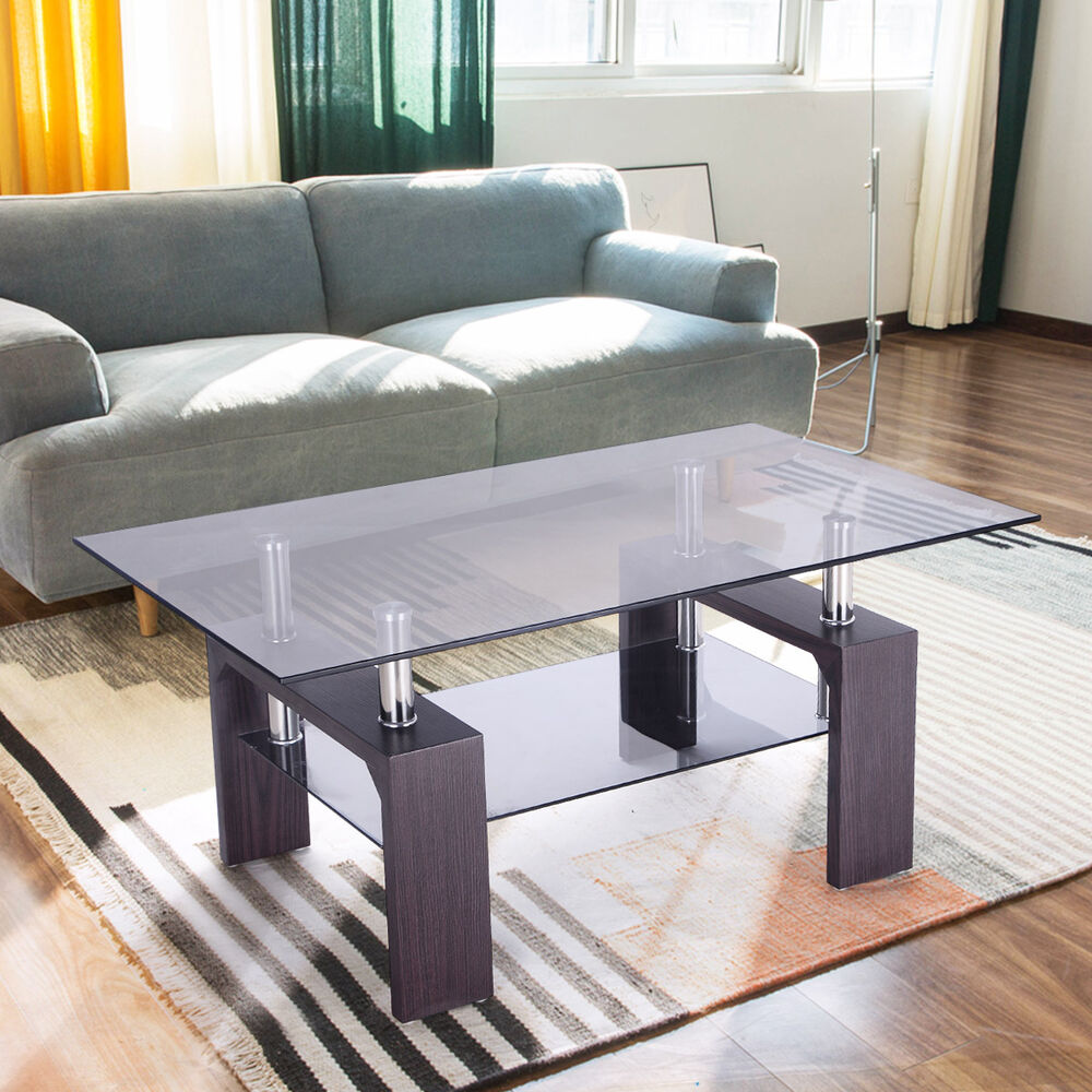 Rectangular glass coffee table wood w shelf living room for Glass living room table