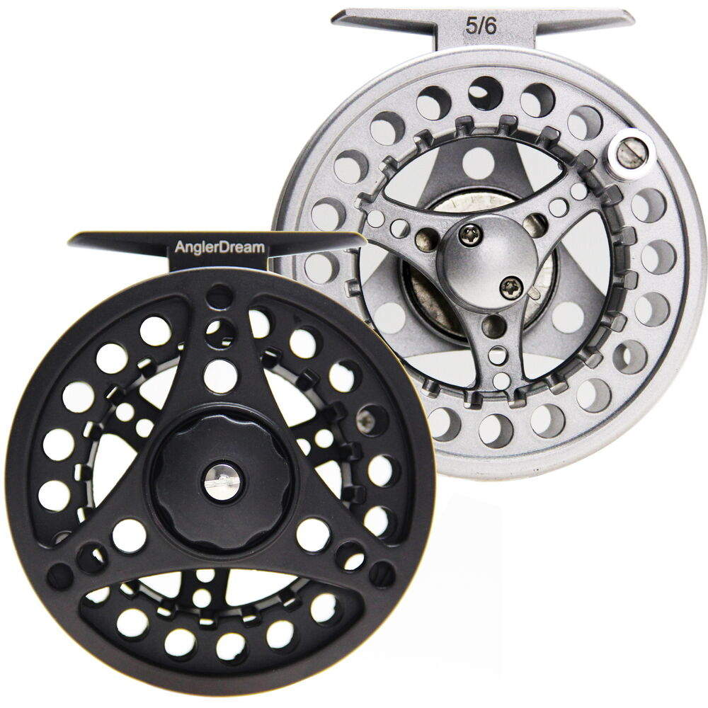Fly reel 1 2 3 4 5 6 7 8 wt large arbor silver black for Fly fishing reels ebay