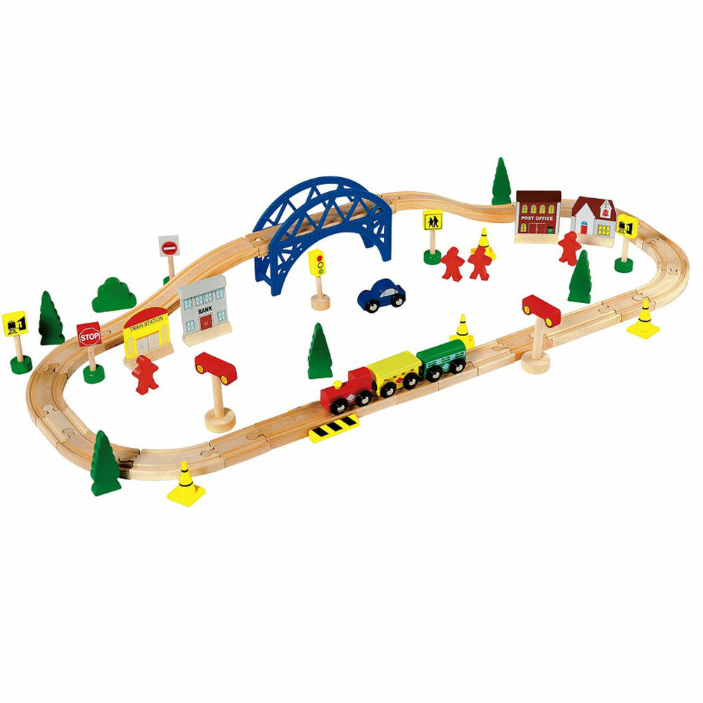 wooden train set toy 60 piece brio compatible chad valley train track ebay. Black Bedroom Furniture Sets. Home Design Ideas