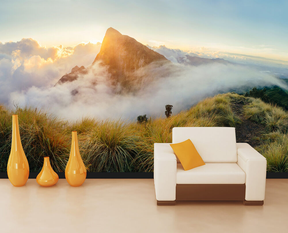 3D Sunset Cliff Mountain Wall Paper Print Decal Wall Deco