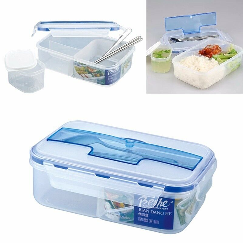 portable microwave lunch grid bento box picnic containers with spoon chopsticks ebay. Black Bedroom Furniture Sets. Home Design Ideas