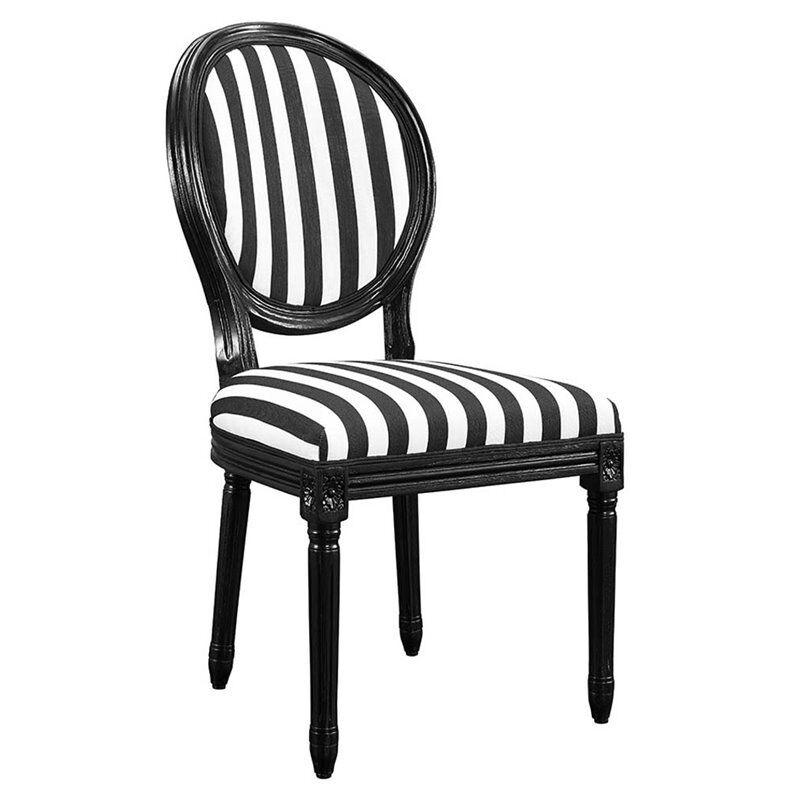 Linon Stripe Dining Side Chair In Black And White Set Of 2 Ebay