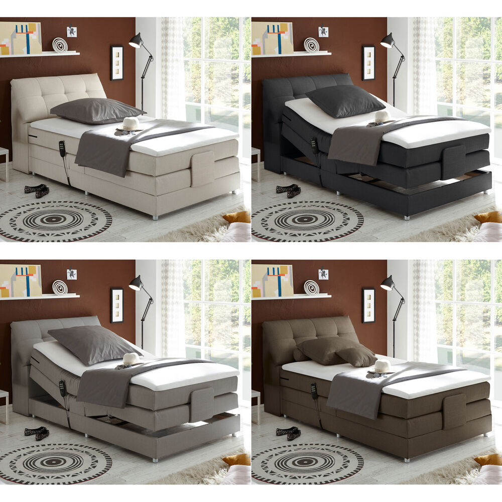 boxspringbett concort bett stoff komfortbett mit motor und topper120x200 cm ebay. Black Bedroom Furniture Sets. Home Design Ideas