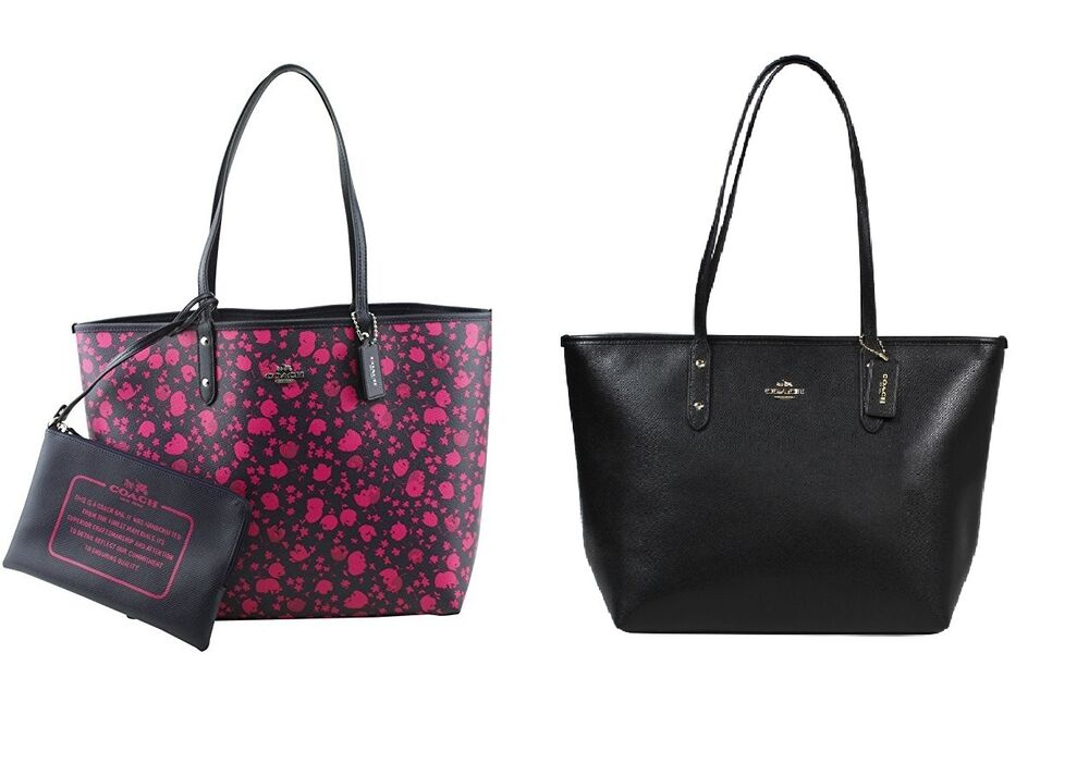 3d137d43a ... Floral Print Canvas Backpack: NWT Coach Reversible City Tote In Flower  Print Canvas Pink