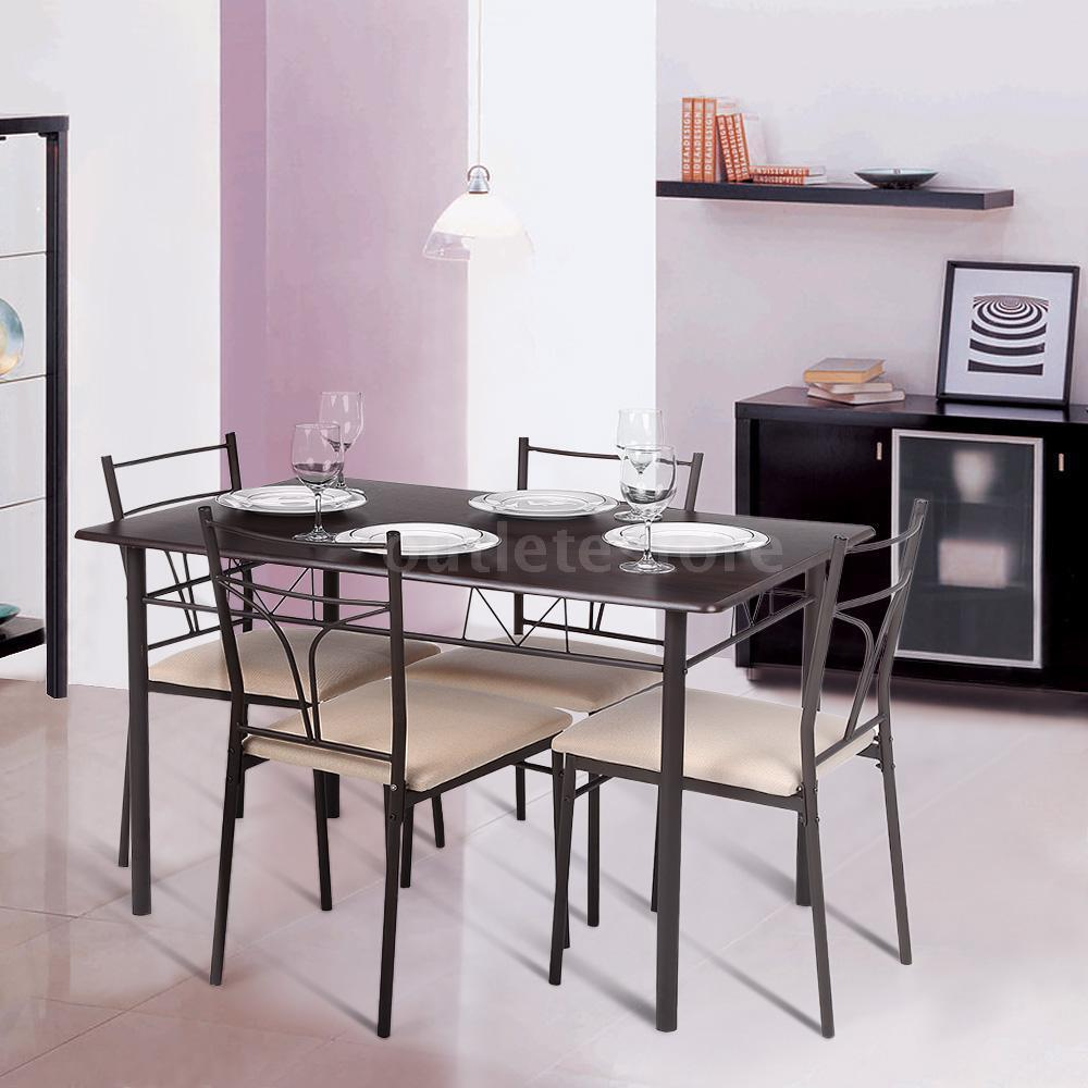 5 Piece Metal Frame Kitchen Breakfast Dining Set 4 Chairs