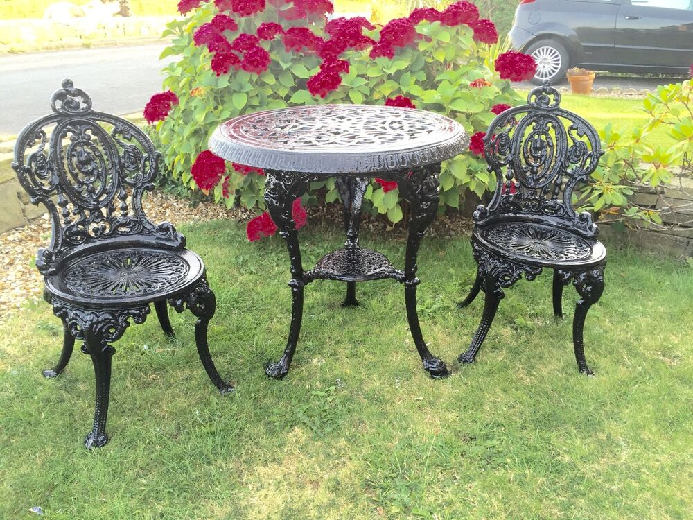 Cast iron table and chairs garden furniture ebay for Metal garden furniture