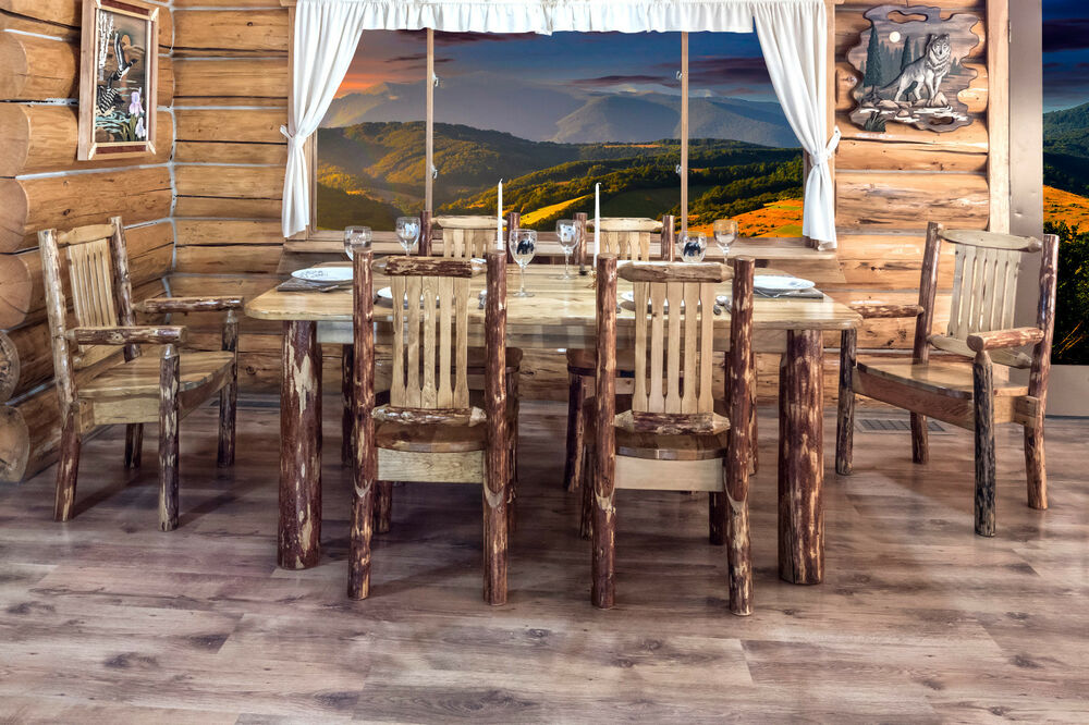 Log Kitchen Table Chairs Set Rustic Lodge Dining Furniture
