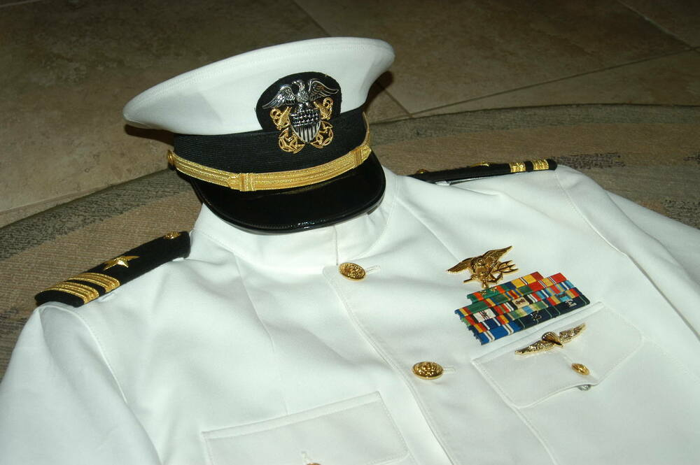 US Navy SEAL Dress White Choker Uniform 48 long USN | eBay