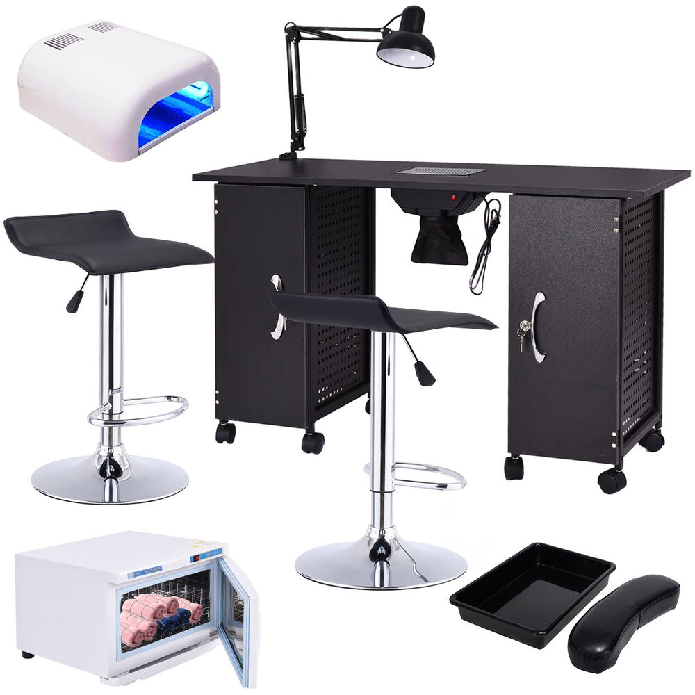 Manicure nail table station rack chairs towel warmer nail for Salon furniture makeup station