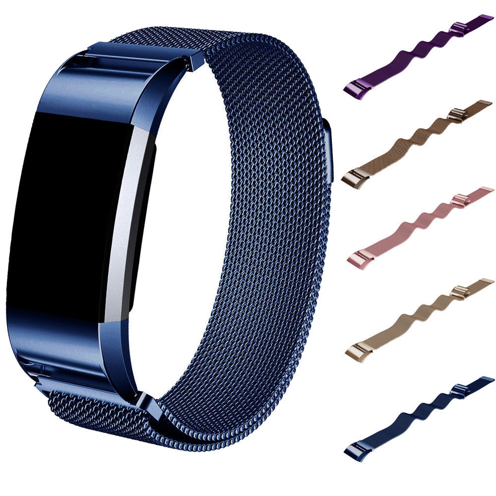 stainless steel magnetic loop mesh band strap wristband for fitbit charge 2 new ebay. Black Bedroom Furniture Sets. Home Design Ideas