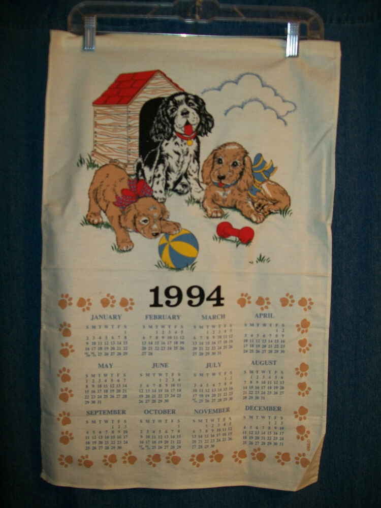 Vintage Calendar 1994 Puppies Playing Dog House B D Quilt Craft Free
