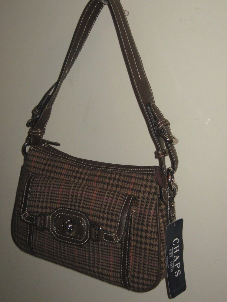Chaps Brown Houndstooth PURSE HANDBAG Retail $69 NWT #AS39 ...