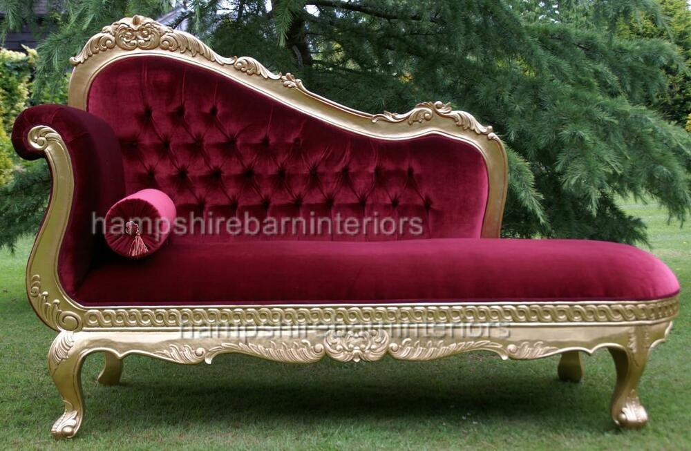 red velvet rich gold leaf chaise longue lounge sofa home event free delivery ebay. Black Bedroom Furniture Sets. Home Design Ideas