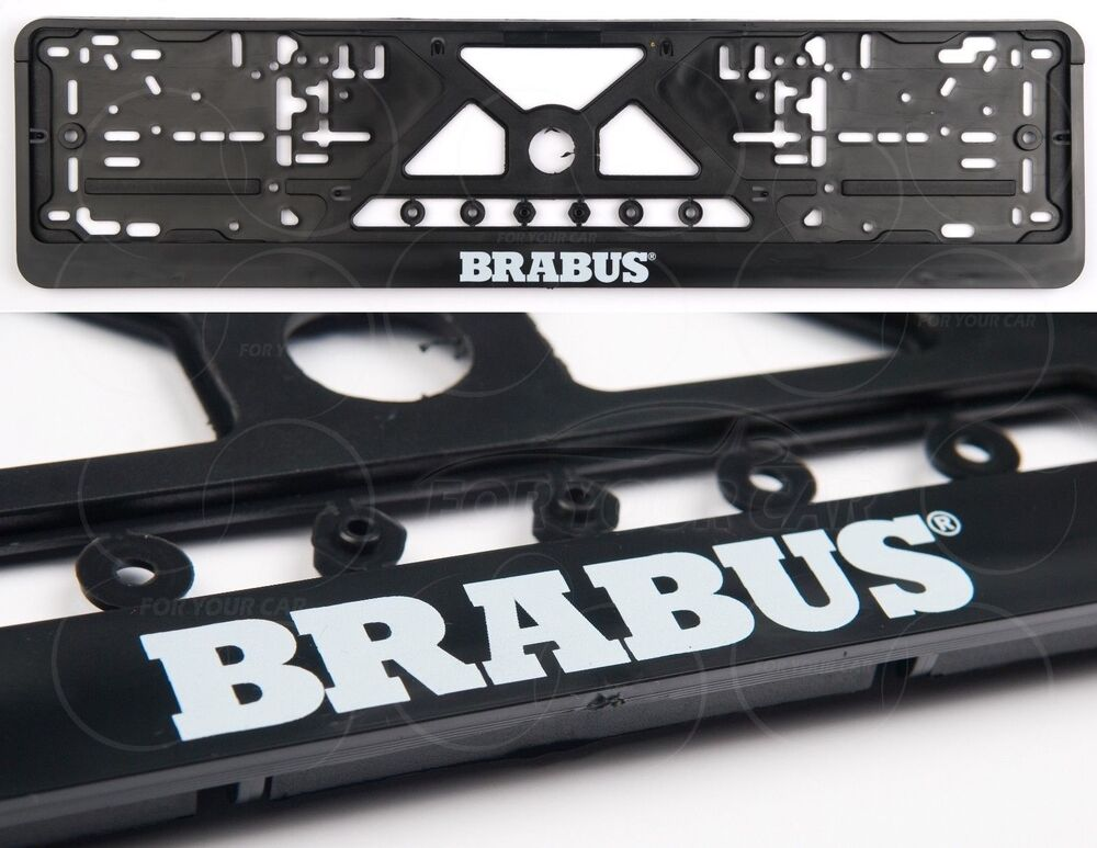Brabus mercedes benz license plate frames big logo mb e c for Mercedes benz license plate logo