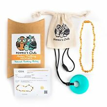 Baltic Amber Children's Necklace GIFT SET - Teeth Pain Relief (Raw Honey)