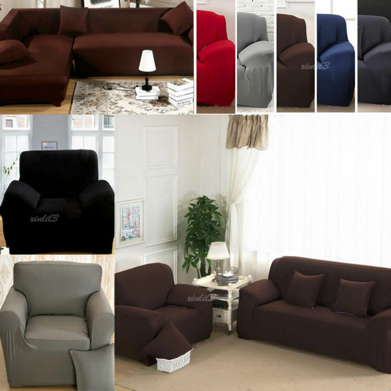 Covering A Sofa With Fabric: L-Shape Stretch Elastic Fabric Sofa Cover Pet Dog
