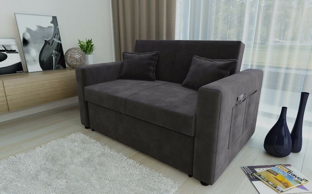 Ravena 2 Seat Sofa Bed Charcoal Fabric Clack Pull