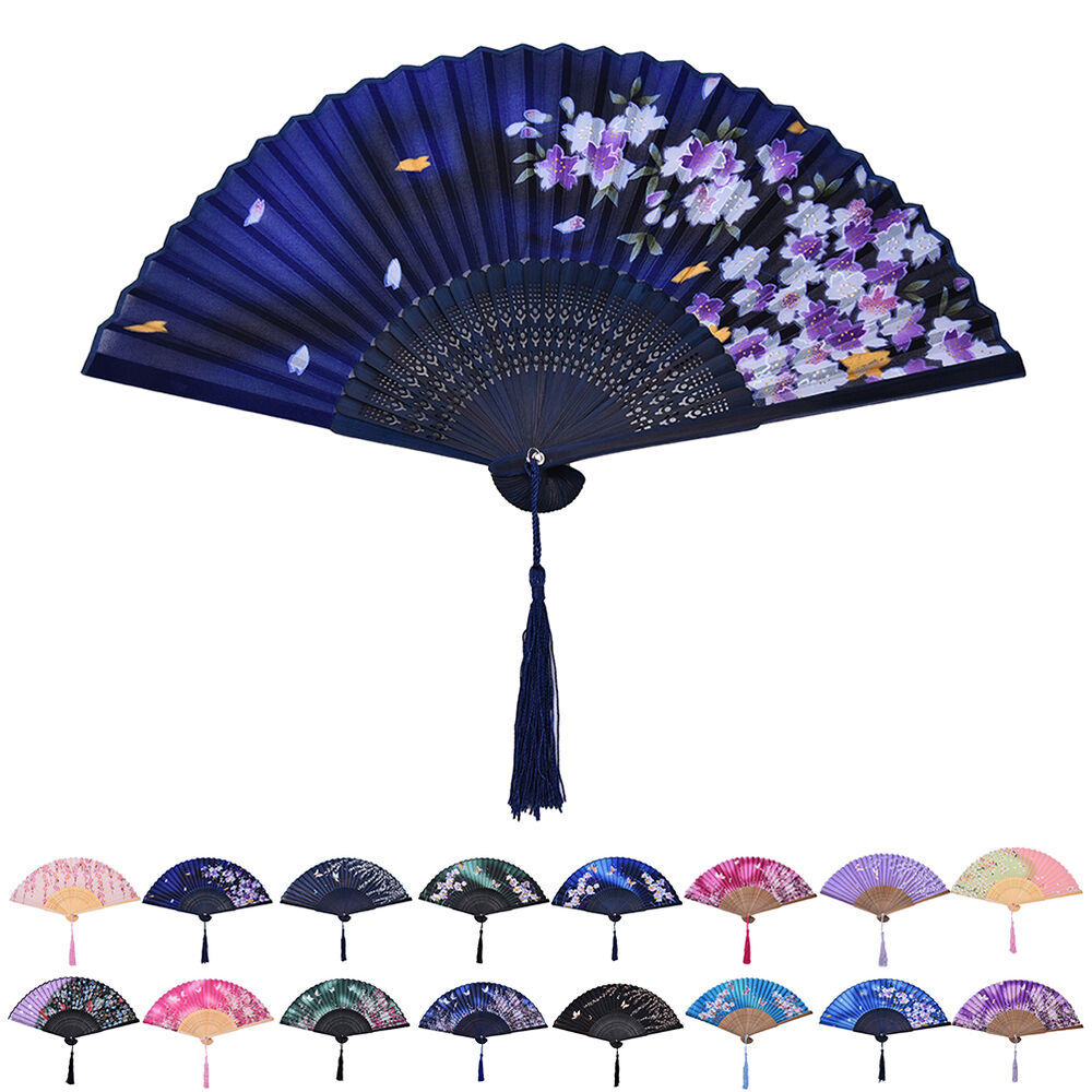 Hand Held Fans : Chinese hand held fan bamboo silk butterfly flower