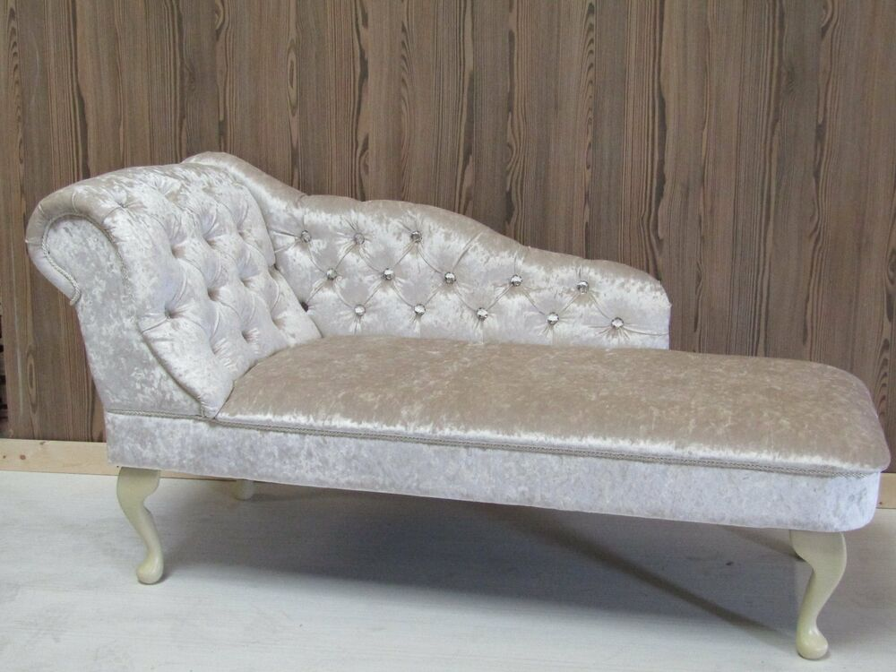 Pearl crushed velvet diamante buttoned chaise longue ebay for Chaise diamante