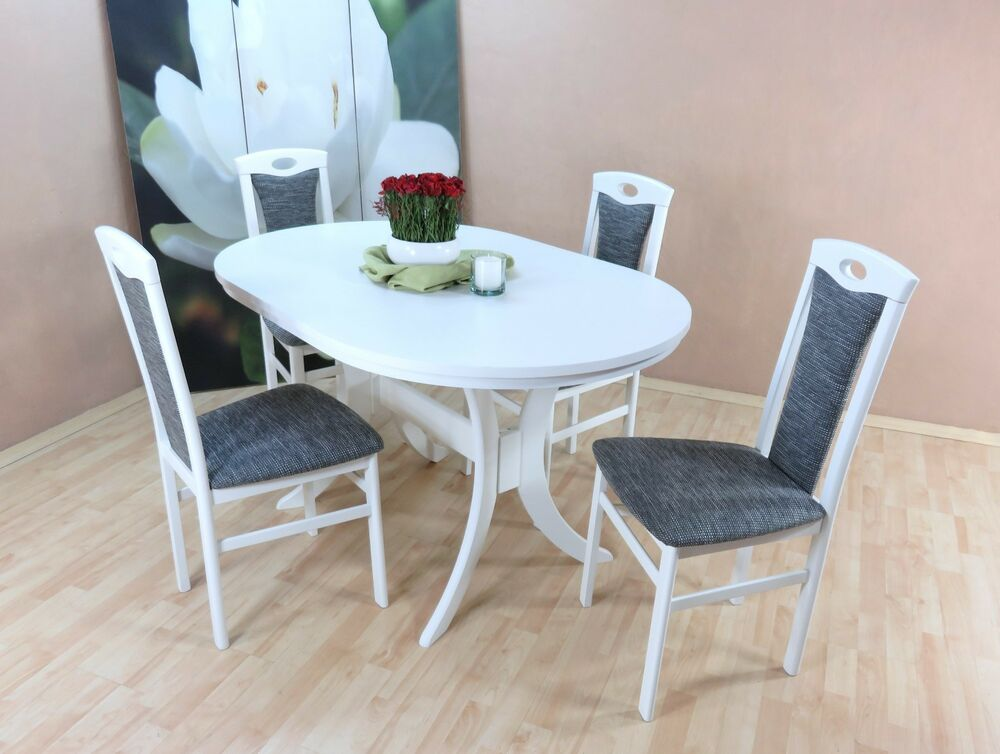 essgruppe 5 tlg auszugtisch esstisch tisch oval st hle farbe wei graphit ebay. Black Bedroom Furniture Sets. Home Design Ideas