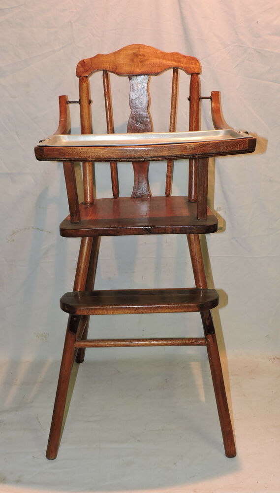 Antique Oak Wood Child Baby High Chair W Aluminum Insert