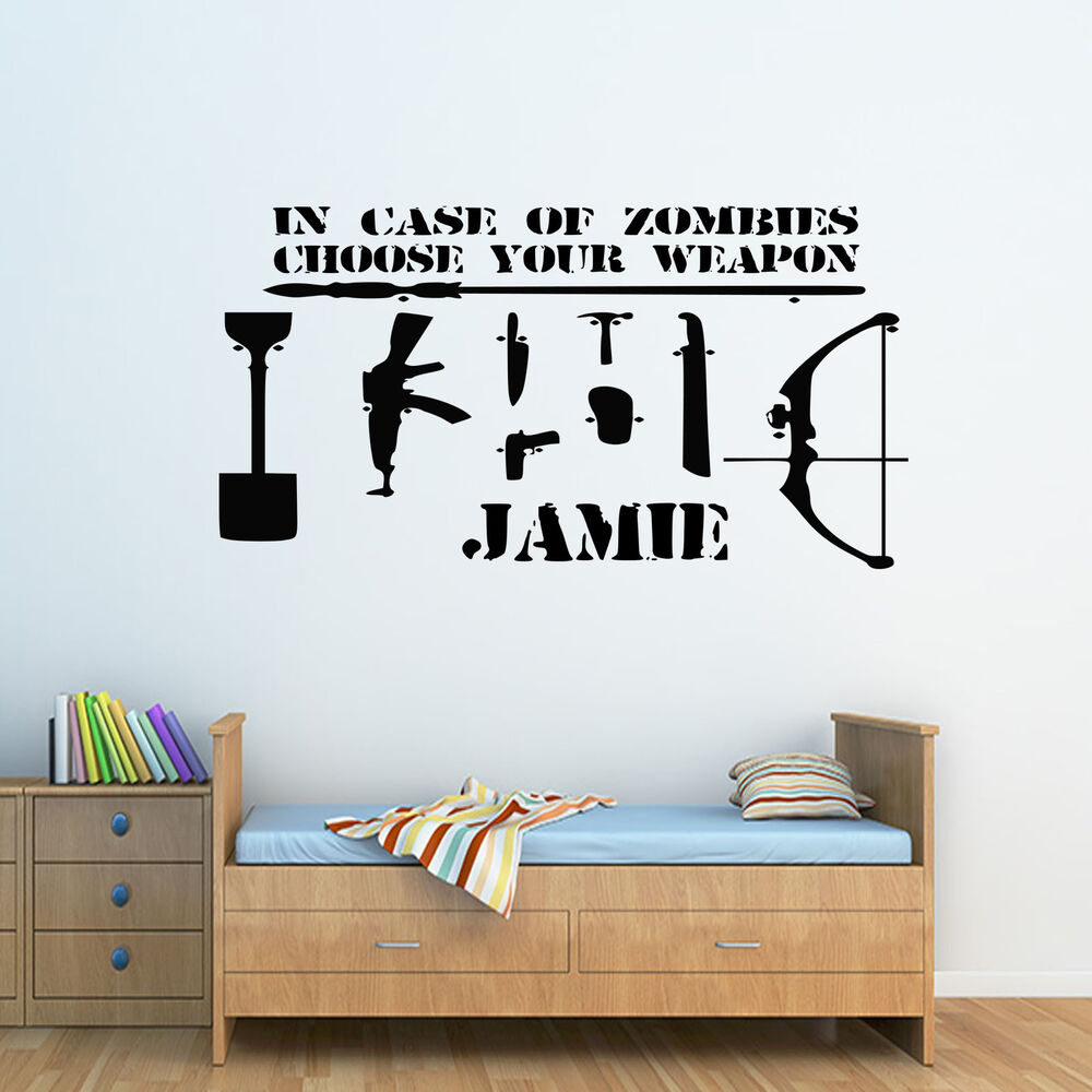 childrens wall stickers boys ebay zombie choose your weapon personalised boys name childrens wall sticker decal