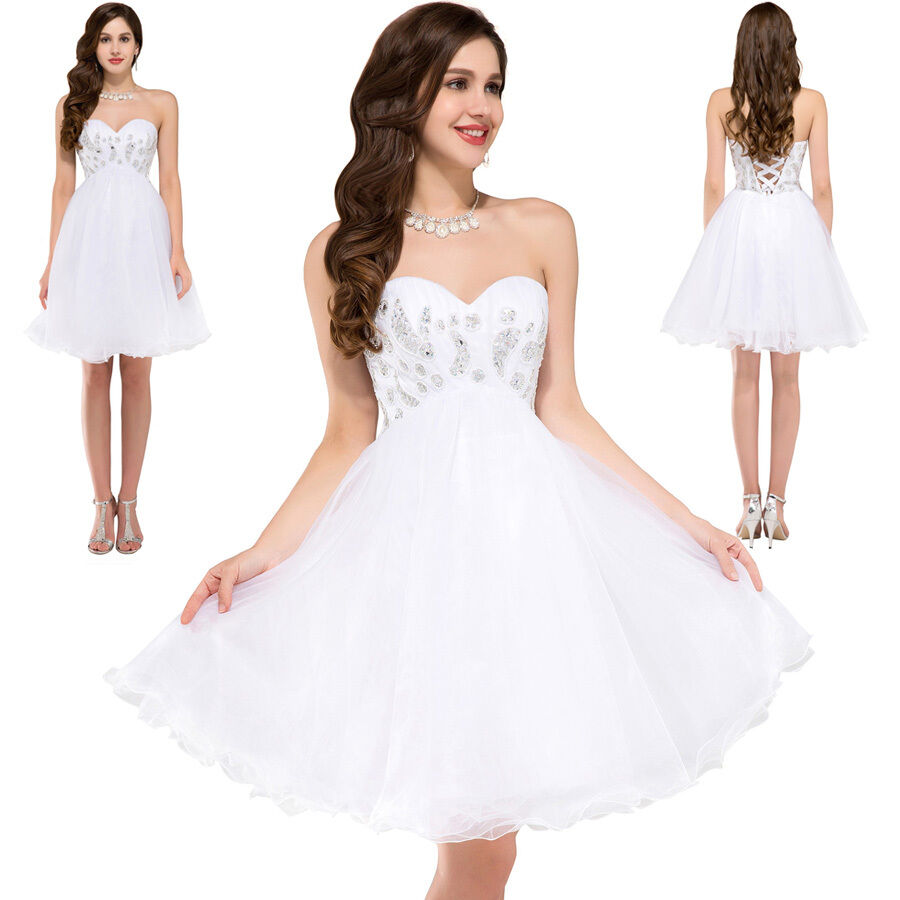 White short mini formal homecoming prom ball gown party for Dresses for wedding party