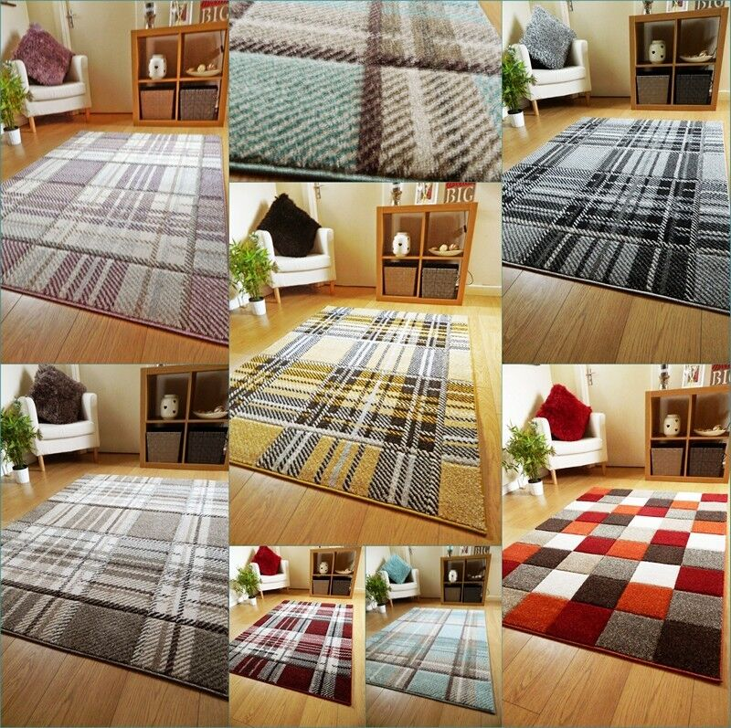 Red And White Checkered Rug: Small Large Modern Soft Thick Tartan Highland Check Rugs